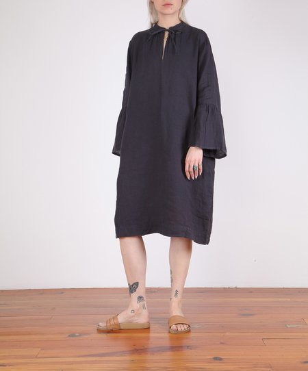 Hartford-Roda Bell Sleeve Linen Dress - CHARCOAL