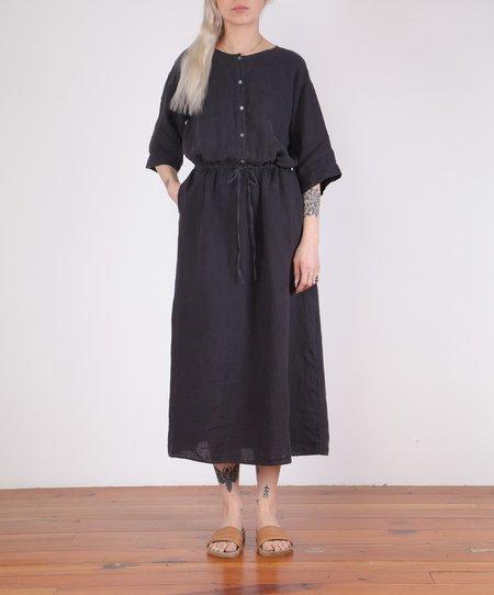 Hartford-Russia Drawstring Long Linen Dress - CHARCOAL