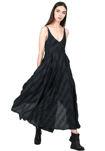 Striped Nipped Waist Dress - DARK BLUE