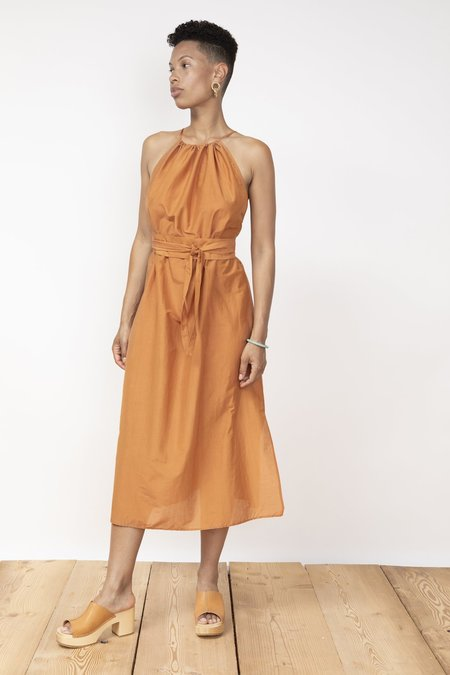 Jungle Folk Peace silk Ella Dress - orange mustard