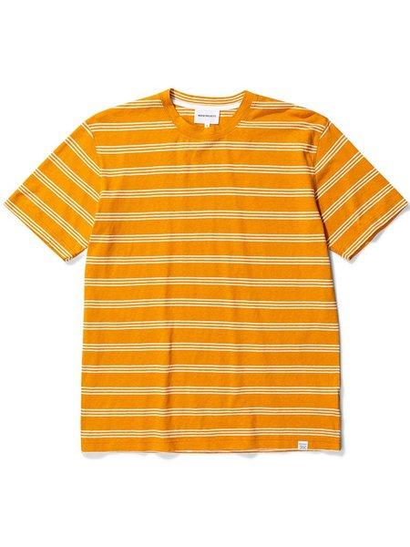 Norse Projects Johannes Stripe T Shirt - Cadmium Orange