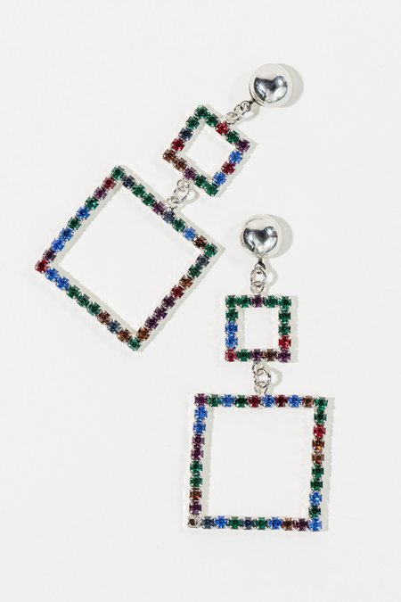 LARUICCI Double Crystal Square Earrings - Silver