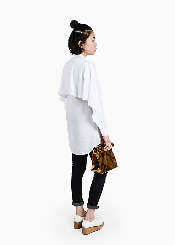 S M K White U-Back Shirt