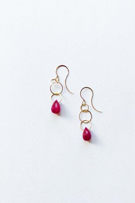 Melissa Joy Manning Ruby Single Drop Earrings - 14k Yellow Gold