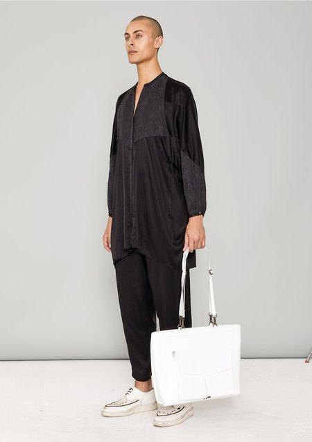 Berenik SILKY RAYON SATIN AND SNAKE JACQUARD BLOUSE DRESS -  black