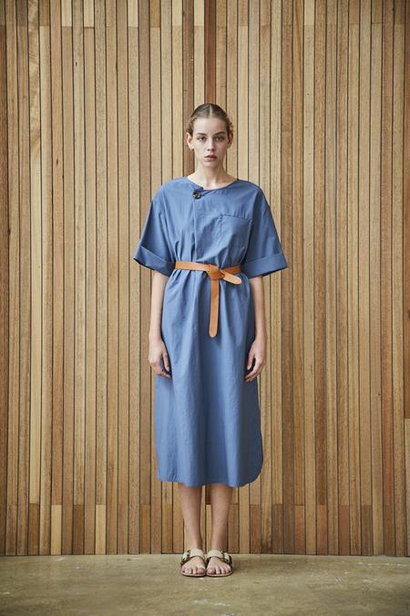 Maison De Ines BELTED 1/2 SLEEVE DRESS - blue