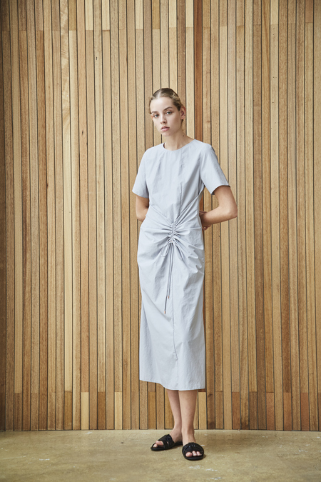 Maison De Ines DRESS WITH SHIRRING DETAIL - gray