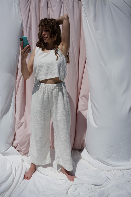 Textile haus French Terry Crop Top - White