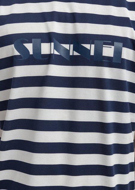 Sunnei Logo T-Shirt - Navy Stripes