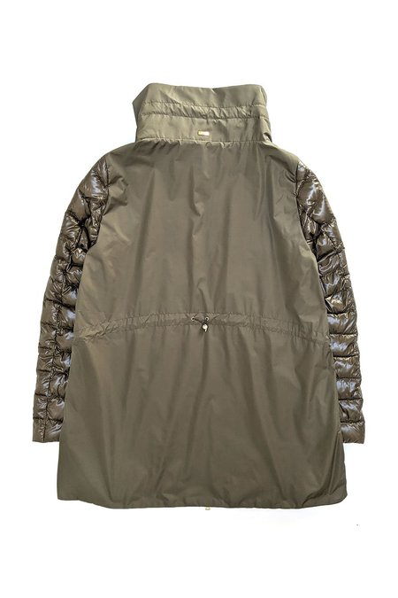 Herno Classic Jacket with Cinched Taffeta Back - Olive