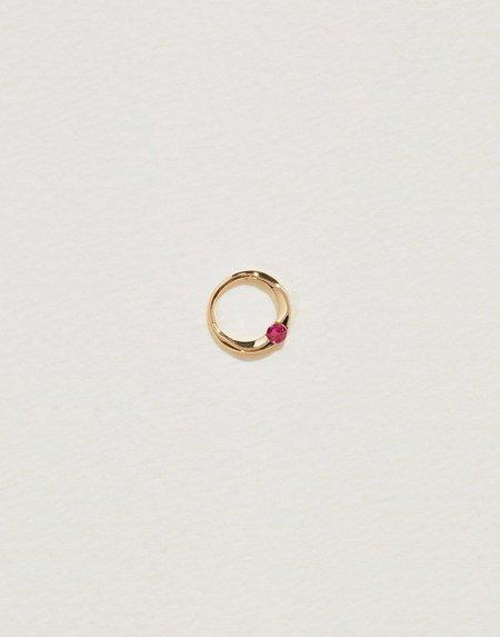 Pamela Love 6mm Floating Ruby Clicker - 14k Yellow Gold