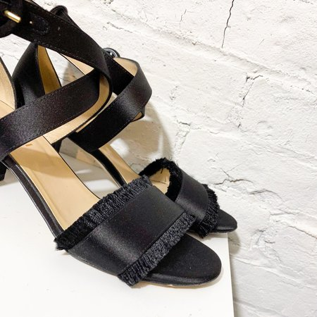 [pre-loved] M. Gemi Satin Fringe Sandals - black