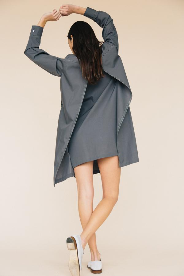 Maud Heline Charcoal Bazalik Dress With Lace Back Panels
