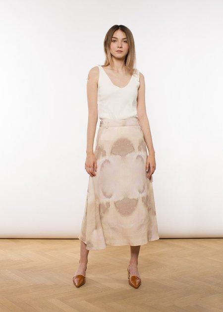 ÁERON Kellie belted A-line midi skirt - watercolor print