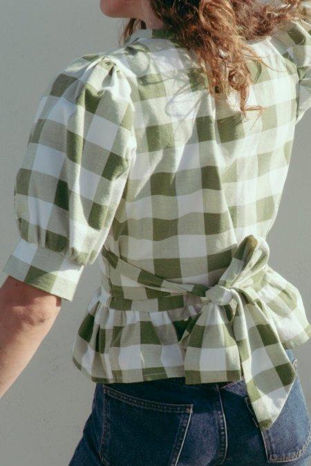 Jess Meany Peplum Saguaro Top - Green checks