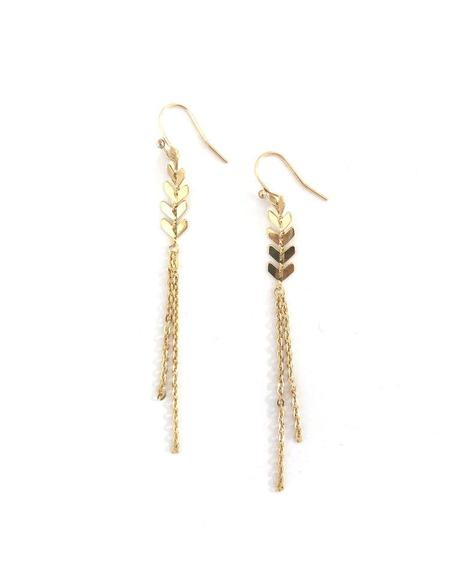 Jennifer Tuton Gold Chevron Chain Earrings - 14K Goldfill