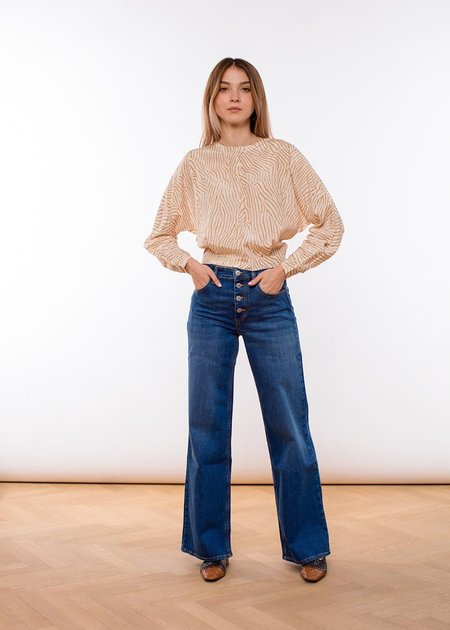 House of Dagmar Peggy denim pants - washed blue