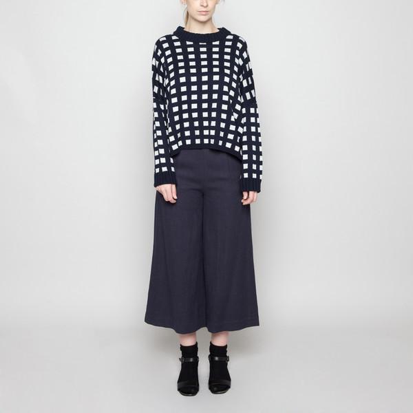 7115 by Szeki Mock-Neck Cotton Plaid Sweater - Navy FW16