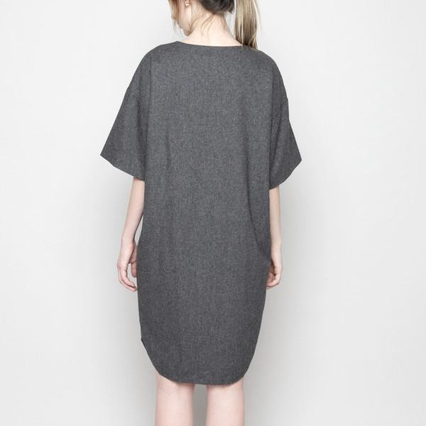 7115 by Szeki V-Neck Cocoon Wool Dress - Gray FW16