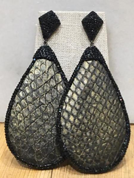 JCM London Snakeskin Drop Earrings - Sterling Silver