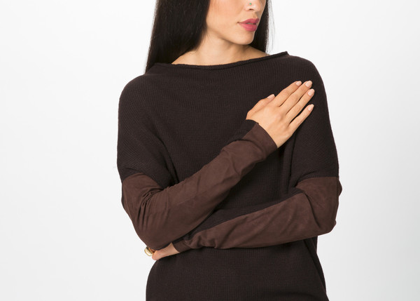 Kristensen du Nord Leather Trim Knit Pullover