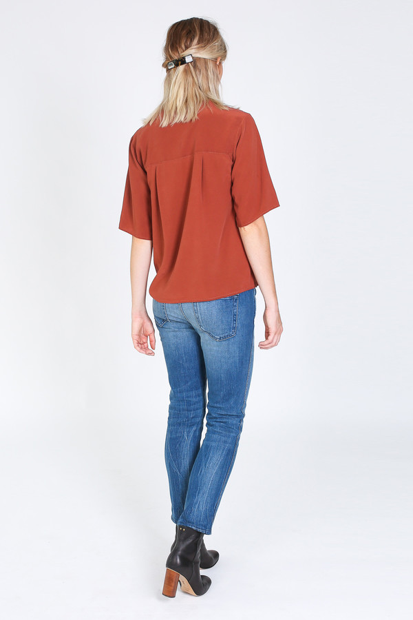 Vincetta Asymmetrical Placket Shirt in sequoia