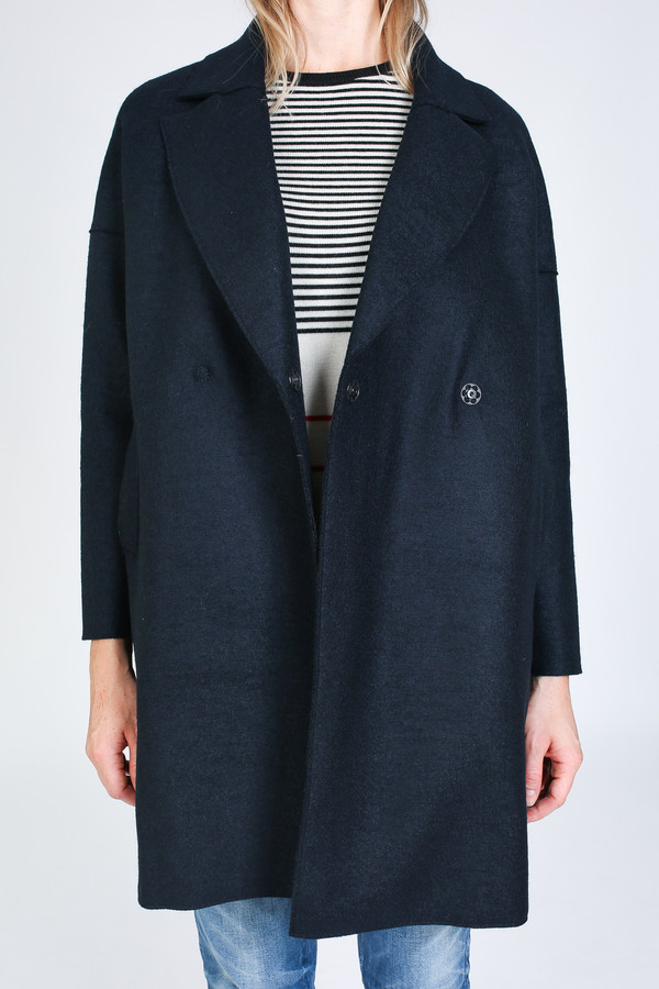 Harris Wharf London Oversized collar Coat in dark blue