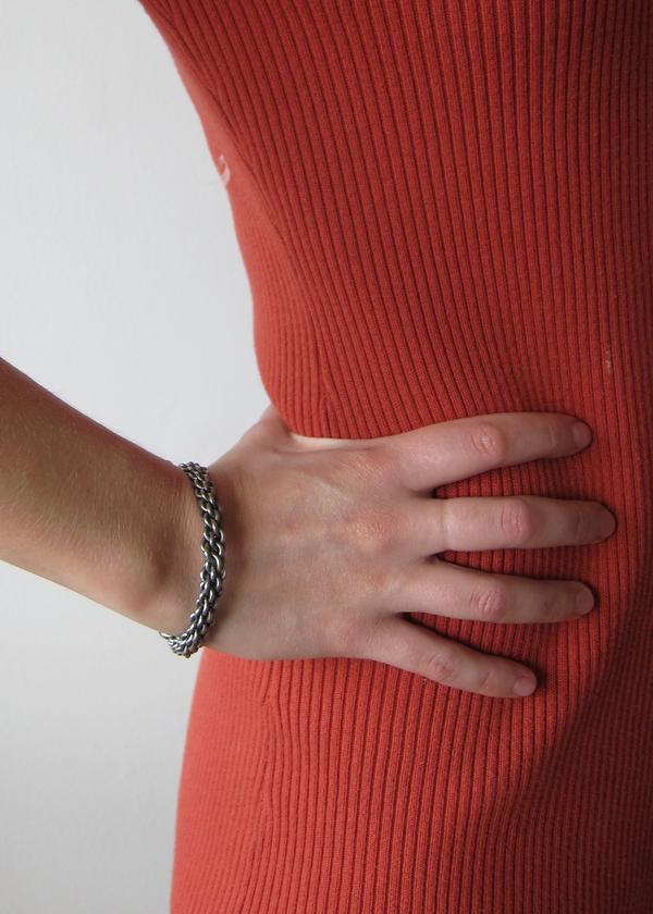 silver tone solid chain cuff