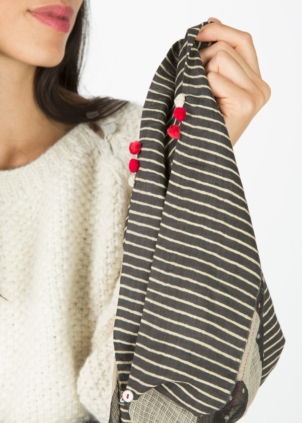 Pero Long Stripe and Poppy Scarf