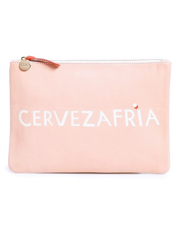 CLARE V. 'CERVEZA FRIA' FLAT CLUTCH IN BLUSH