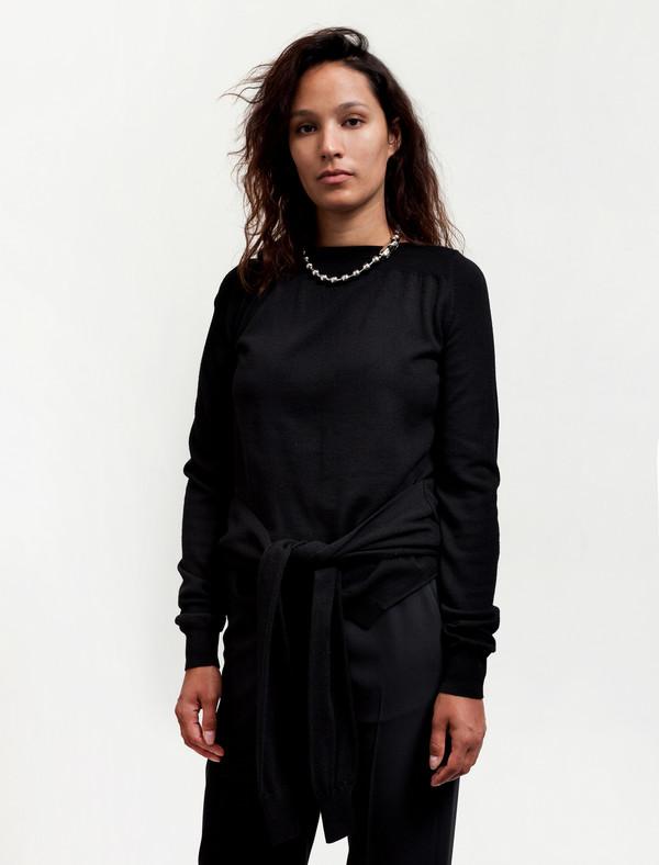 MM6 by Maison Margiela Womens Tie Sleeves Top Black