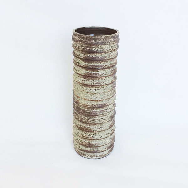 Ashley Hardy Large Brown Crackle Pleated Vase