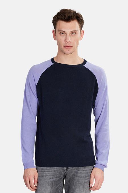 Blue&Cream Cashmere Raglan Sweater - Navy/Blue