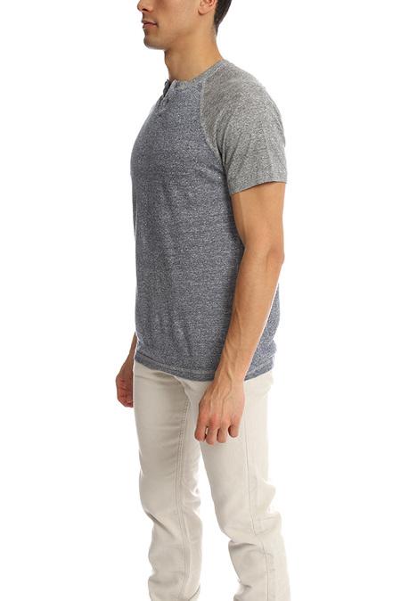 Blue&Cream Short Sleeve Raglan Henley Top - Hercules Blue/Grey