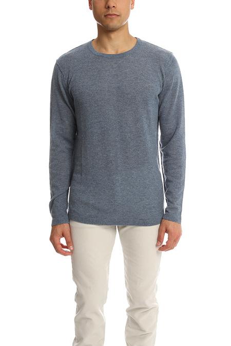 Blue&Cream Lightweight Cashmere Crew Sweater - Air Force Blue