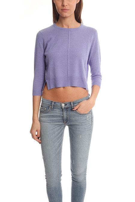 Blue&Cream Crop Crewneck Sweater - Cornflower