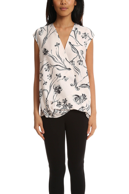 3.1 Phillip Lim Floral Print Soft Draped Sleeveless Blouse - Lilac
