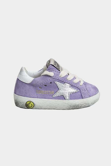 kids Golden Goose Toddler Superstar Sneaker Shoes - Lyllium Suede/Silver Star