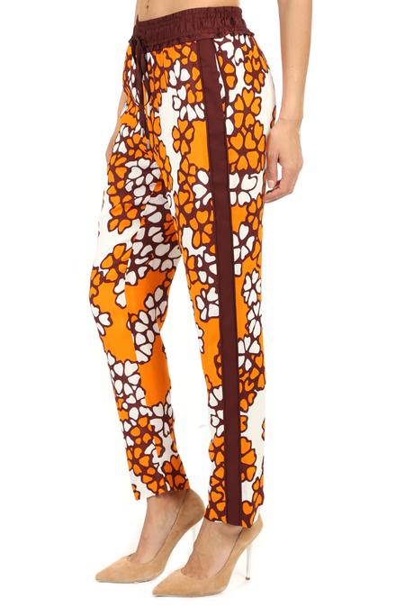 Women's 3.1 Phillip Lim Printed Slim Drawstring Pants in Orange, Size 0