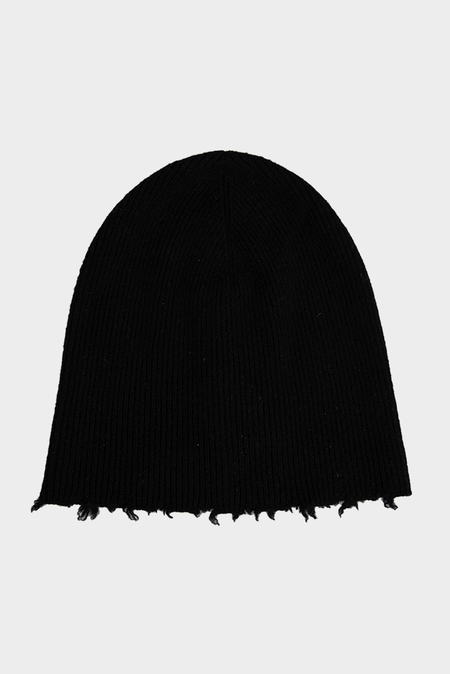 Helmut Lang Fray Edge Cashmere Hat - Black