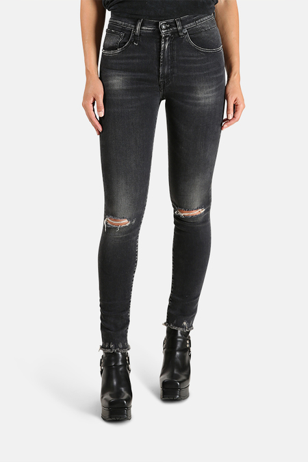 R13 High Rise Skinny Jeans - Aiden Black