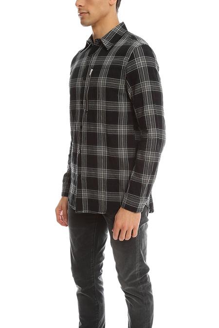 R13 Zip Plaid Shirt - Black Plaid