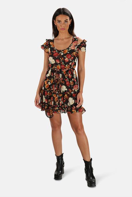 R13 Deconstructed Babydoll Dress - Black Floral