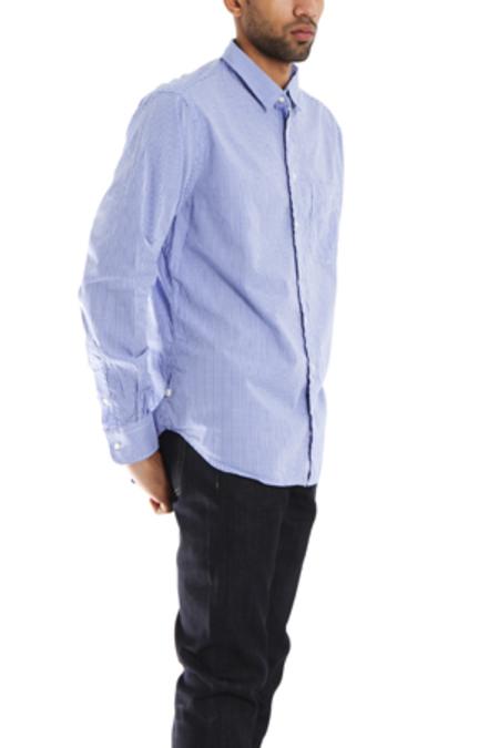 Blue&Cream Macro Check Gingham Button Down Shirt - blue