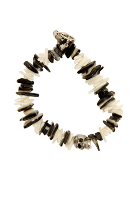 Duchess of Malfi Black Lip Shell and White Coral Skull Bracelet - Black/White