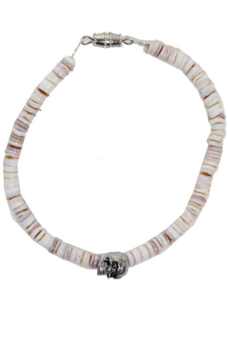 Duchess of Malfi Conus Shell Bracelet with Skull - White