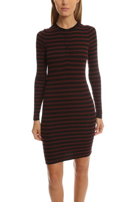 ATM Long Sleeve Henley Dress - Rust/Black Stripe
