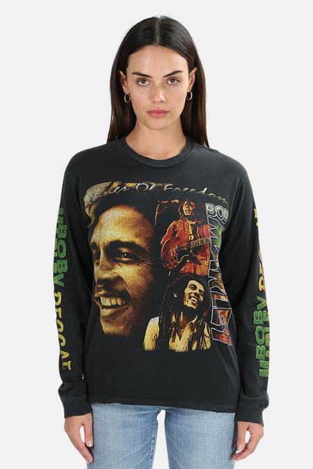 MadeWorn Rock Bob Marley Reggae LS Top - Coal Pigment