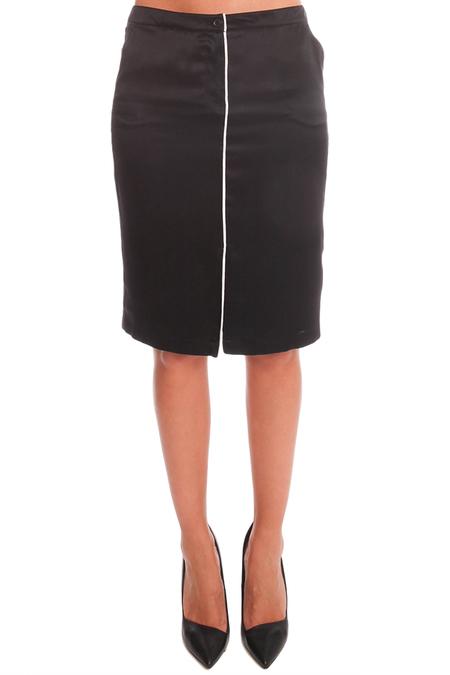 ATM Self Piping Silk Pencil Skirt - Black/Snow Combo