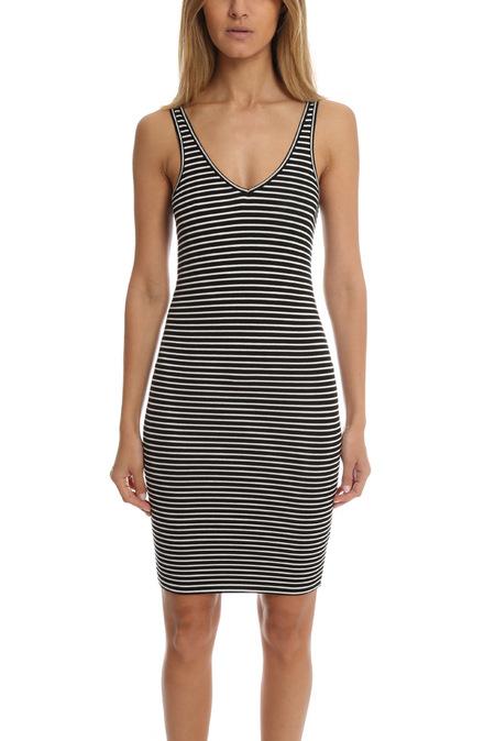ATM Striped Wrestler Tank Dress - Black/White